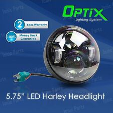 "Optix 5.75 5-3/4"" 40W CREE LED Black Projector Headlight w DRL Harley Davidson"