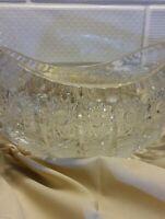 "Czech Bohemian Cut Crystal Vintage 8"" Oval BowlHobstar QueenLace Pattern"