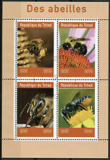 Chad 2019 CTO Bees 4v M/S Abeilles Insects Flowers Nature Bee Stamps