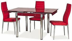 """""""SAVANNAH"""" Red Glass Extendable Dining Kitchen Table & Chairs"""