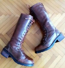 Womens Brown Long Vintage Looking Lace-up Harley Davidson Boots Size 4 UK 37 EU