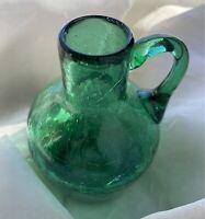 Vintage Miniature Blenko Emerald Green Crackle Art Glass Pitcher Vase Blenko