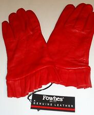 Ladies Women's Genuine Leather Ruffle Gloves, Red, XL