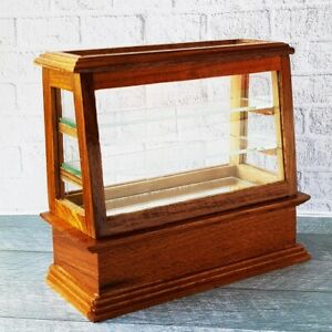 Mini Wooden Wood Cabinet Showcase Dollhouse Miniature Food Pastries Bakery Shop