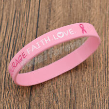 Silicone Breast Cancer Awareness Bracelet Wristband Pink Rubber Bracelet Jewelry