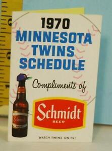 1970 Minnesota Twins Baseball Schedule Schmidt Beer #MT06x