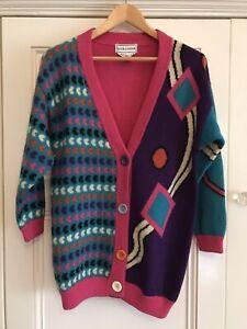 Sandra Steiner Colourful Vintage 100% Pure New Wool Long Cardigan