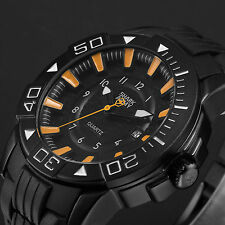 SHARK ARMY Black Orange Date Rubber Men's Army Military Quartz Sport Wrist Watch