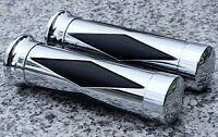 CHROME DIAMOND GRIPS for Honda Kawasaki Suzuki Yamaha Cruisers