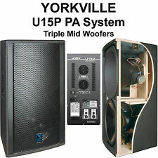 Yorkville U15P Tri-Amped 3600w Total Peak Tri-Amped (3) Unity Horn Mid Woofer PA