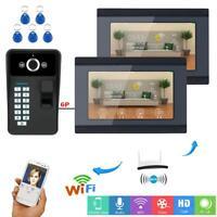 2 Monitors Wifi Fingerprint RFID Password Video Door Phone Doorbell Intercom