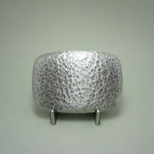 New Original Vintage Silver Plated Hammer Forged Rectangle Belt Buckle US Stock