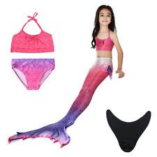 Girls Kids Mermaid Tail Swimsuit  Bikini Sets Swimwear Monofin Cosplay Costumes