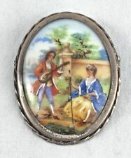 Limoges France Sterling Framed Hand Painted Brooch/Pin