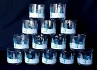 14 pc. Set Vintage Anchor Hocking Clear Glass Winter Tree Scene Mugs Coffee Cup