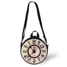 Retro Clock Round Shoulder Bag Women Handabg Purse Children Backpack Dual-use