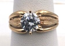 14k Yellow Gold 1.25ct Cubic Zirconia Engagement Ring Size 8.25 4.7grams