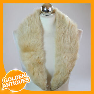 Women's Winter Collar Scarf Tippet Scarve Shawl Stole Natural white Fox Fur