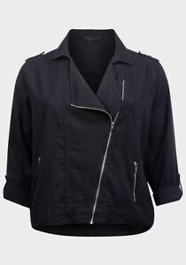 M&CO Black Curve Plus Size Linen Mix Zipped Biker Jacket Coat Blazer Size 18-28