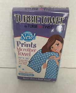 Turbie Twist Microfiber Hair Towel Cap Super Absorbent 18 X 38 Polka Dot Blue