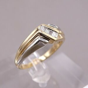 Men's Diamond Baguette 10k Yellow & White Gold Ring Size 11