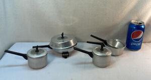 Vtg 8pc 50-60's Child's Play Kitchen Dish Aluminum Electric Fry Pan Sauce Lids