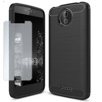 For Motorola Moto C Full Armor with tempered glass Soft Slim Shockproof TPU Case