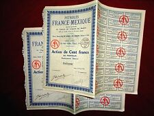 Petroles France-Mexique,share certificate 1926   Mexico  VG/F  x  2