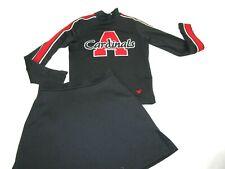 "CARDINALS Cheerleader Uniform Outfit Costume Adult Small 34"" Top 25 Skirt Black"