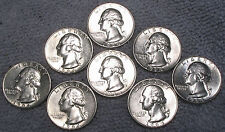 (8) 1964 D Washington Silver Quarters - Excellent, Beautiful, Brilliant Coins