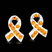 w Swarovski Crystal Orange Leukemia Kidney Cancer Awareness Ribbon Post Earrings