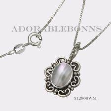 Authentic Lori Bonn Silver White Mabe Pearl June Birthstone Necklace 512906WM
