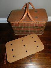 Vintage REDMON Red Scotch Plaid Picnic Basket w/Pie Rack