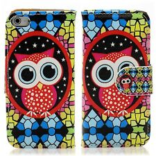 Apple iPhone 5 5S Flip Tasche Handy Case Schutz Hülle Cover Etui Mosaik Eule Owl