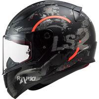 LS2 CIRCLE mattschwarz/Neonorange  Motorrad Integralhelm Kart Sport Gr.:XS - 3XL