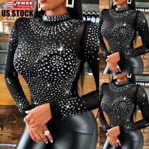 Sexy Womens Turtleneck Long Sleeve Bodysuit Ladies Slim Fit Leotard Top Jumpsuit
