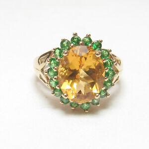 CHUCK CLEMENCY 14K Yellow Gold 3.30 Ct Natural Orange CItrine Green Garnet Ring