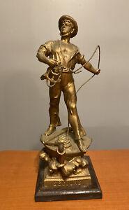 """Secours Antique 15"""" Spelter Cast Nautical Sculpture After Arthur Waagen Sailor"""