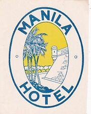 Philippines Manila The Manila Hotel Vintage Luggage Label sk3580