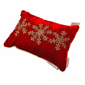 "Glitz Glammer Christmas Snowflakes Gold Deep Red Beaded 14"" Toss Pillow"