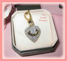 Juicy Couture Gold & Pave Crystal Puffed Heart Charm NWT Style # YJRUOO30