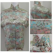 Vintage Chinese TOP~Cherry Blossom Satin Brocade Asian Cheongsam Frog Pinup S/M