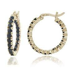 Hoop Sapphire Sterling Silver Fine Earrings