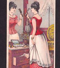 Victorian Corset 1800's Jackson MI Lingerie Boudoir Lady Advertising Trade Card