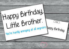Personalised Funny Humorous Joke Comedy Little Brother Birthday Card