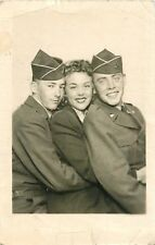 c1950s Korean War Era Soldiers Posing With A Woman Real Photo Postcard/RPPC