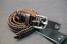 Armani Exchange AIX Men's Chrome Buckle Brown Braided Adjustable Leather Belt L