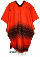 TRIBAL SERAPE Mexican PONCHO - RED BLACK - ONE SIZE FITS ALL Blanket Gaban
