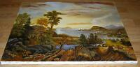 REALISM PASTURE LANDSCAPE FARM SHEEP TREES VILLAGE NAUTICAL FINE ARTS PAINTING