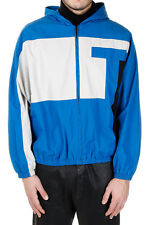 Alexander Wang 'Lagoon' Men's Hooded Zip Jacket Coat Blue/White Large NWT $475